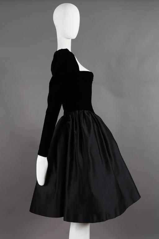 Women's Yves Saint Laurent Haute Couture black velvet cocktail dress, circa 1981 For Sale