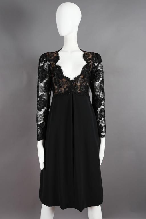 Yves Saint Laurent Haute Couture black lace cocktail dress, circa 1979 2
