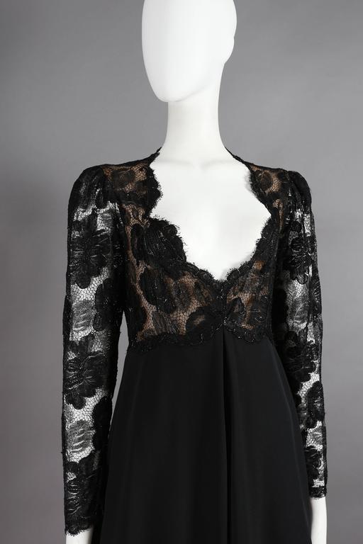 Yves Saint Laurent Haute Couture black lace cocktail dress, circa 1979 4