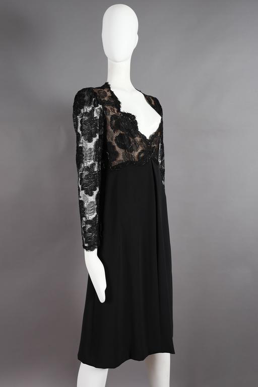Yves Saint Laurent Haute Couture black lace cocktail dress, circa 1979 3