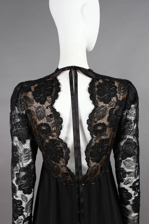 Yves Saint Laurent Haute Couture black lace cocktail dress, circa 1979 8