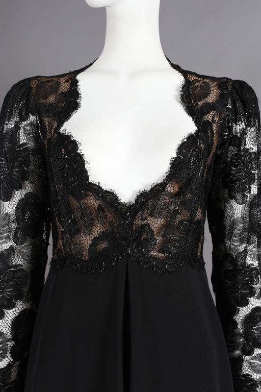 Yves Saint Laurent Haute Couture black lace cocktail dress, circa 1979 7