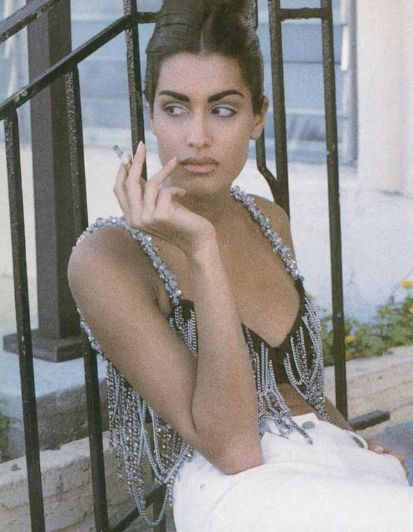 Gray Dolce & Gabbana beaded chain bralette, circa 1991 For Sale