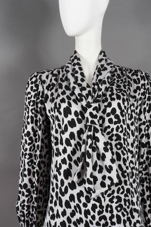 Women's Yves Saint Laurent leopard print pussy bow silk blouse, circa 1970s For Sale