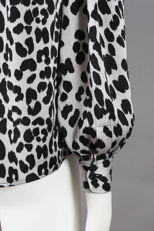 Yves Saint Laurent leopard print pussy bow silk blouse, circa 1970s For Sale 3