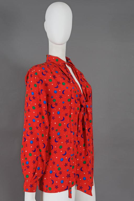 Yves Saint Laurent silk star and moon print pussy bow blouse, circa 1970 4
