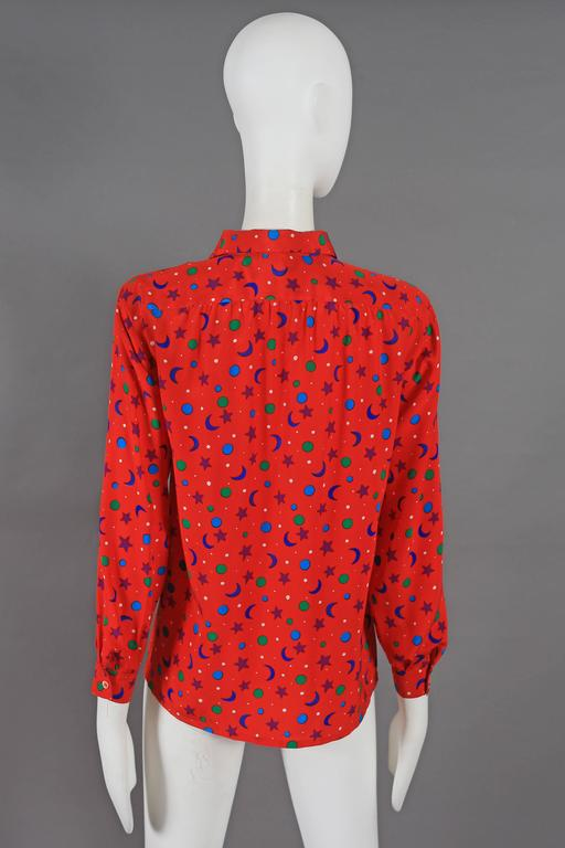 Yves Saint Laurent silk star and moon print pussy bow blouse, circa 1970 6