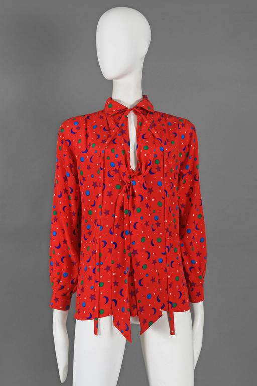 Yves Saint Laurent silk star and moon print pussy bow blouse, circa 1970 2