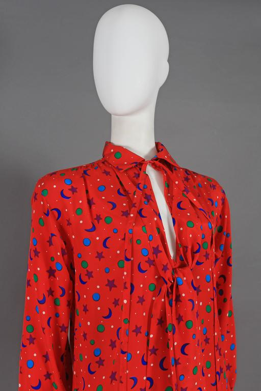 Yves Saint Laurent silk star and moon print pussy bow blouse, circa 1970 3