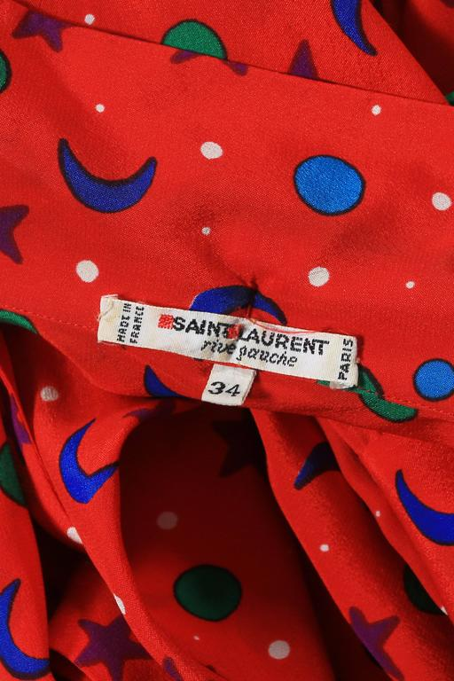 Yves Saint Laurent silk star and moon print pussy bow blouse, circa 1970 8