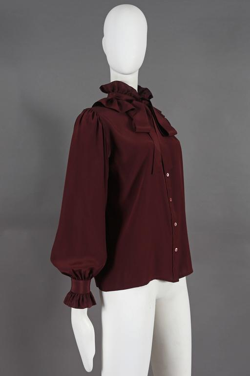 Women's Yves Saint Laurent silk pussy-bow blouse with ruffled collar, circa 1970s For Sale