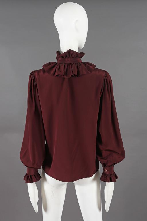 Yves Saint Laurent silk pussy-bow blouse with ruffled collar, circa 1970s For Sale 2