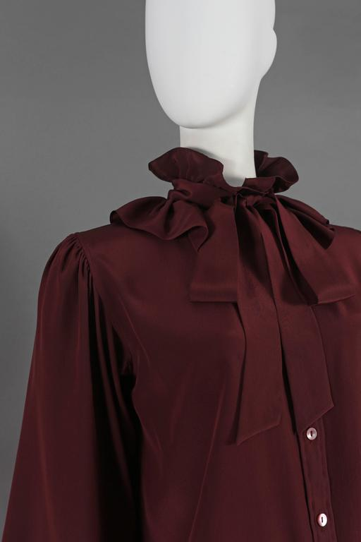 Yves Saint Laurent silk pussy-bow blouse with ruffled collar, circa 1970s In Good Condition For Sale In London, GB