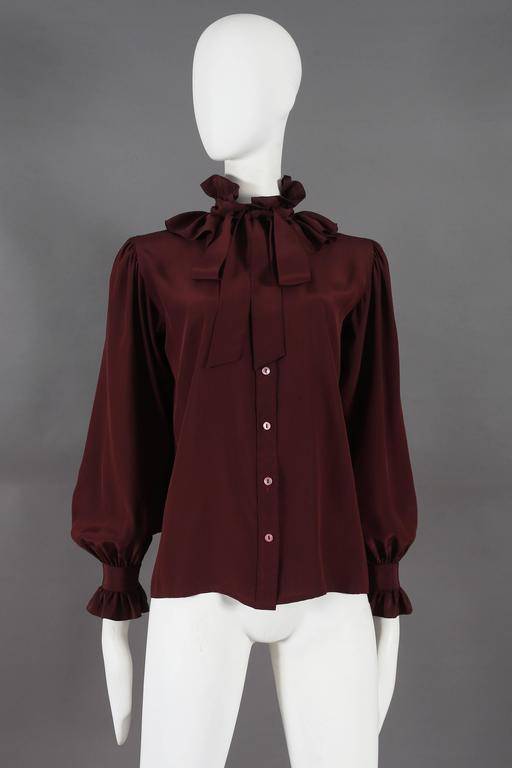 Black Yves Saint Laurent silk pussy-bow blouse with ruffled collar, circa 1970s For Sale