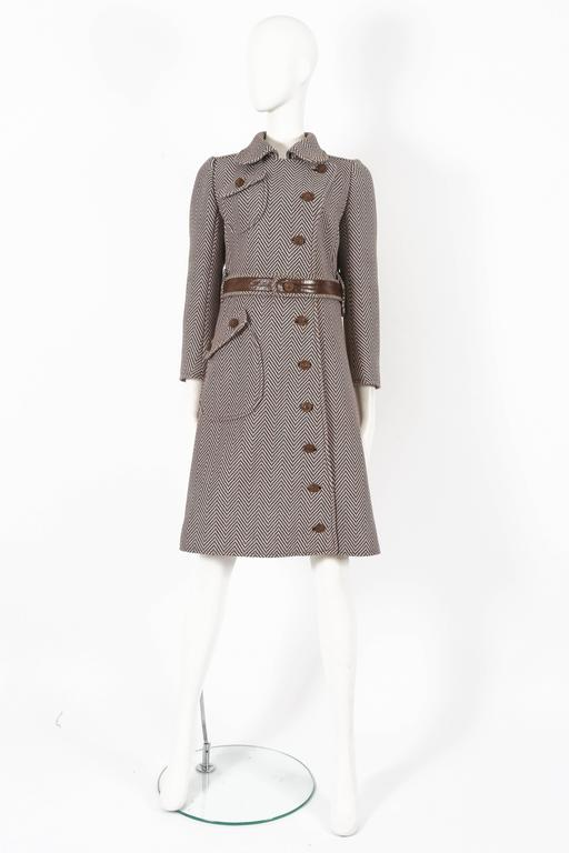 Gray Courreges Haute Couture tailored tweed coat, circa 1969 For Sale