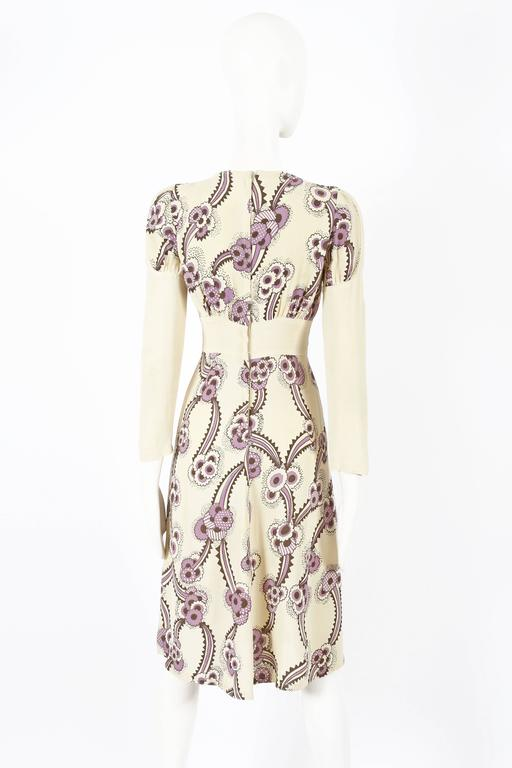 Ossie Clark ivory moss crepe 'Floating Daisies' dress, circa 1970s For Sale 2