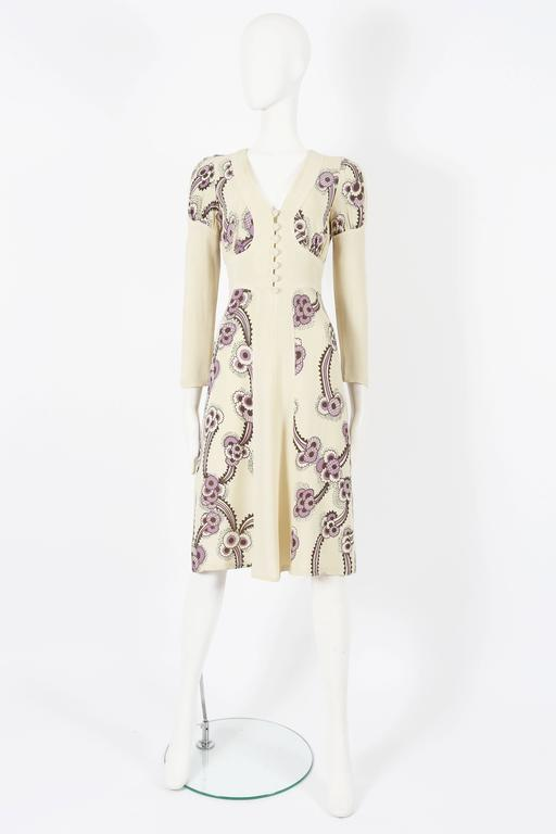 Beige Ossie Clark ivory moss crepe 'Floating Daisies' dress, circa 1970s For Sale