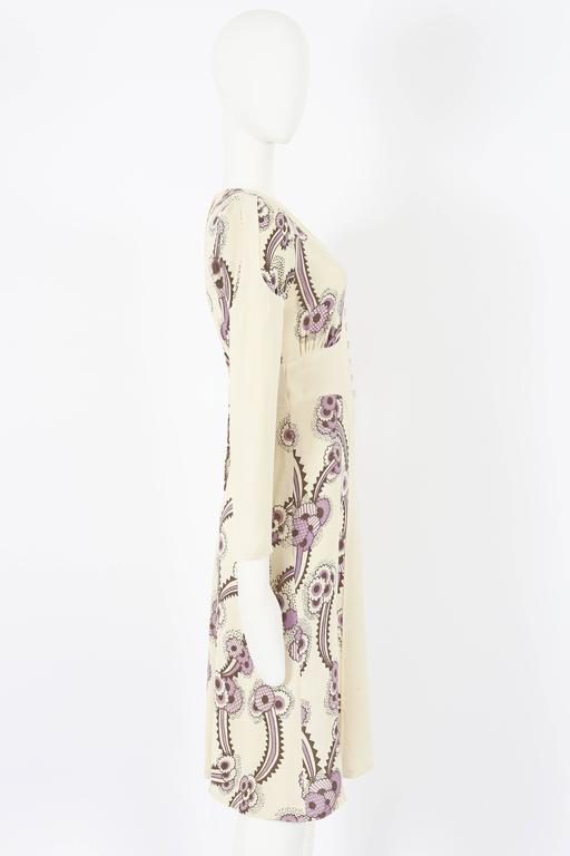 Ossie Clark ivory moss crepe 'Floating Daisies' dress, circa 1970s For Sale 1