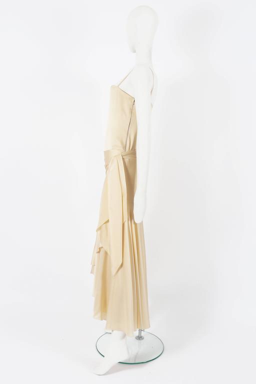 Women's Christian Dior Haute Couture Ivory Silk Evening Dress, circa 1978 For Sale