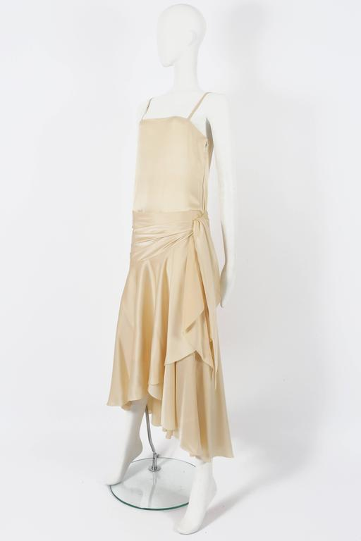 Beige Christian Dior Haute Couture Ivory Silk Evening Dress, circa 1978 For Sale