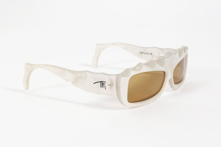 Beige Thierry Mugler Galaxie Pearl Sunglasses, circa 1977-79 For Sale