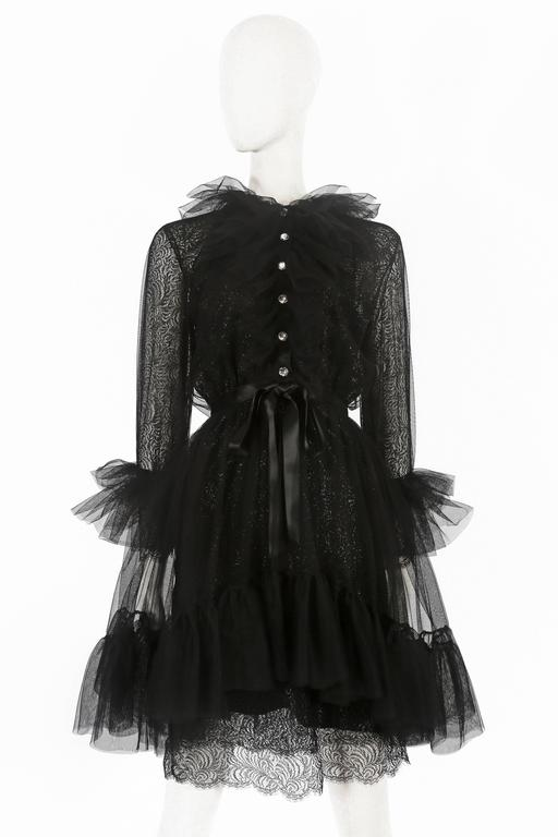 Women's or Men's Yves Saint Laurent tulle and lace cocktail dress, circa 1980 For Sale