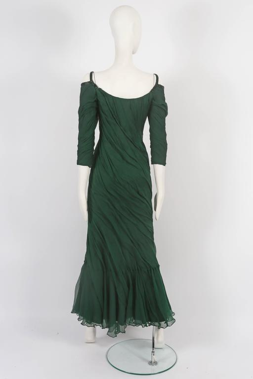 Women's Antony Price bias cut chiffon evening gown, circa 1980s For Sale