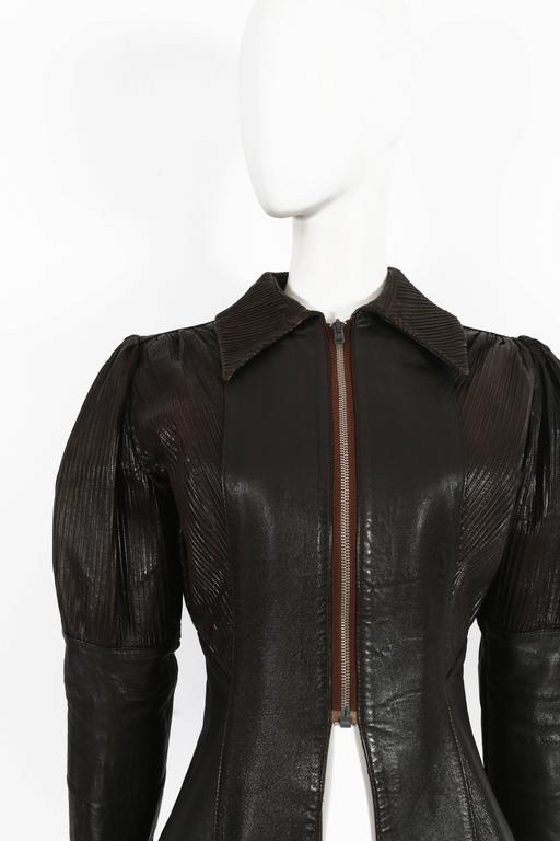 Black Ossie Clark 'Rocker' leather jacket, circa 1966 For Sale