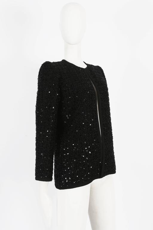 Black Yves Saint Laurent Haute Couture sequinned evening jacket, circa 1978 For Sale
