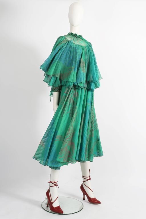 Ossie Clark Celia Birtwell couture silk chiffon screen-print dress, circa 1976 3