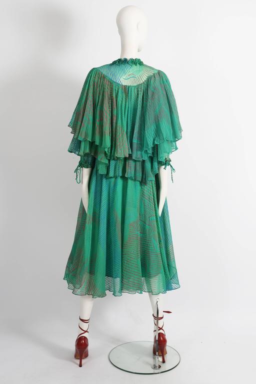 Ossie Clark Celia Birtwell couture silk chiffon screen-print dress, circa 1976 5