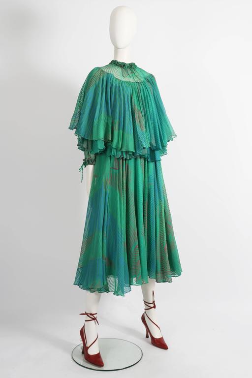 Ossie Clark Celia Birtwell couture silk chiffon screen-print dress, circa 1976 7