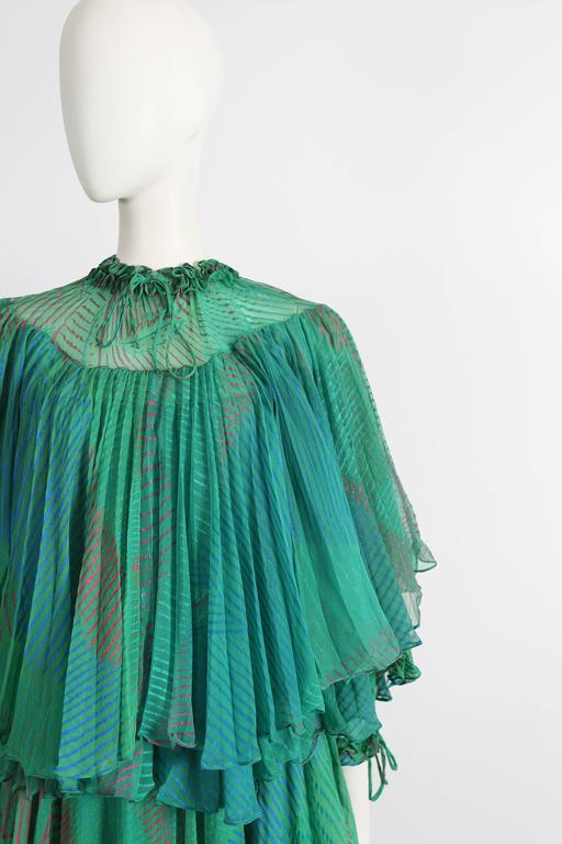 Ossie Clark Celia Birtwell couture silk chiffon screen-print dress, circa 1976 4