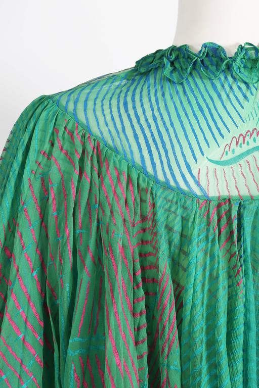 Ossie Clark Celia Birtwell couture silk chiffon screen-print dress, circa 1976 6