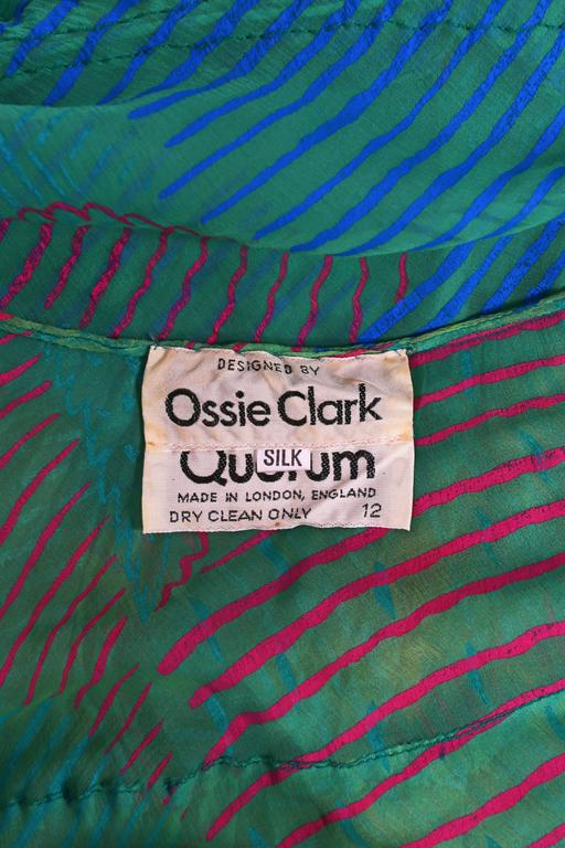 Ossie Clark Celia Birtwell couture silk chiffon screen-print dress, circa 1976 10