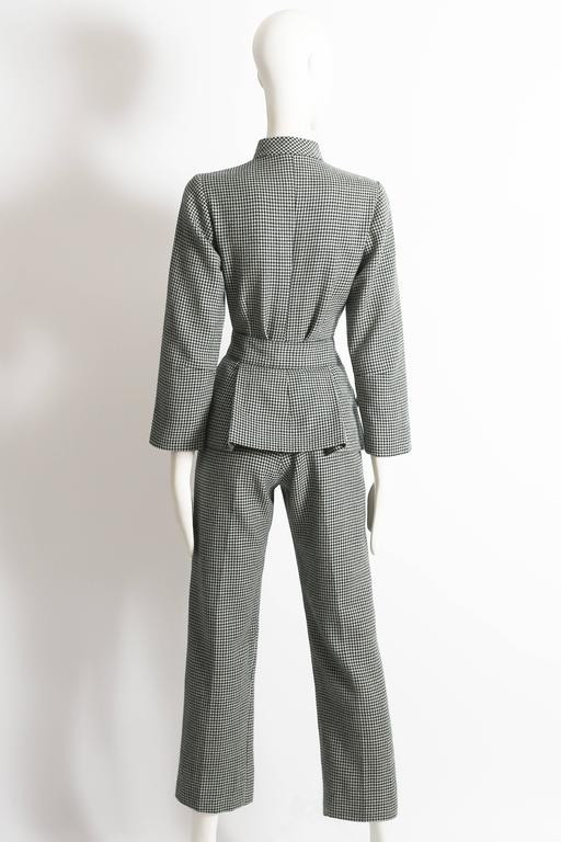 Women's houndstooth wool peplum jumpsuit, circa 1960s For Sale