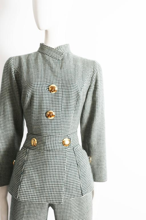 Gray houndstooth wool peplum jumpsuit, circa 1960s For Sale