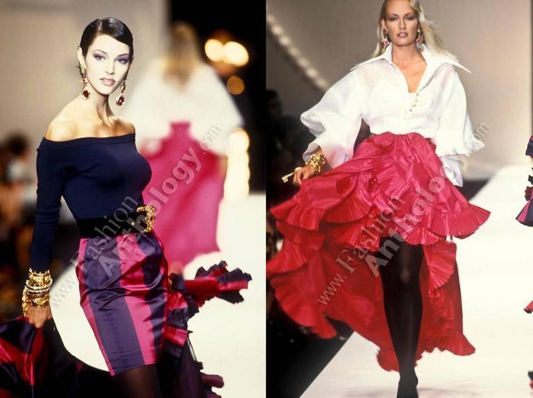 Black Christian Dior by Gianfranco Ferré silk evening flamenco skirt, circa 1993 For Sale