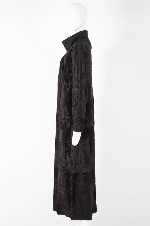 Women's Zac Posen reversible leather and fur full length coat, circa 2000s For Sale
