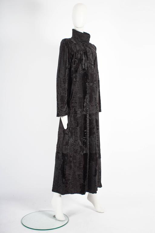 Black Zac Posen reversible leather and fur full length coat, circa 2000s For Sale