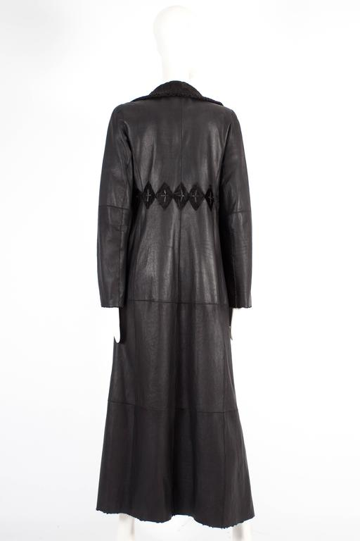 Zac Posen reversible leather and fur full length coat, circa 2000s 4