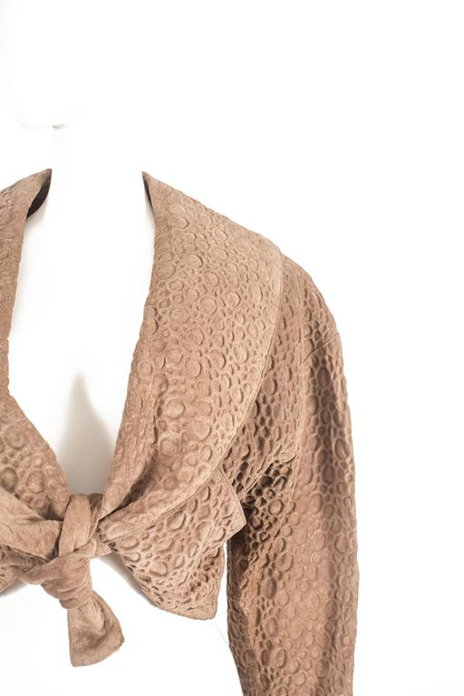 Women's Alaia taupe leather bolero jacket, circa 1987 For Sale