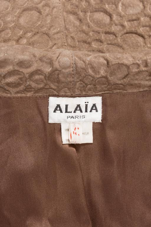 Alaia taupe leather bolero jacket, circa 1987 For Sale 4