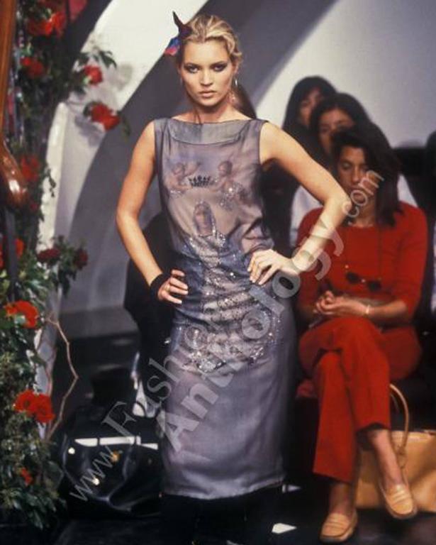 Gray Dolce & Gabbana Virgin Mary chiffon shift dress, circa 1998 For Sale