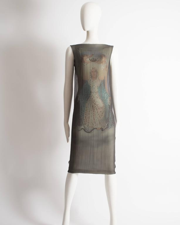 Dolce & Gabbana Virgin Mary chiffon shift dress, circa 1998 In Excellent Condition For Sale In London, GB