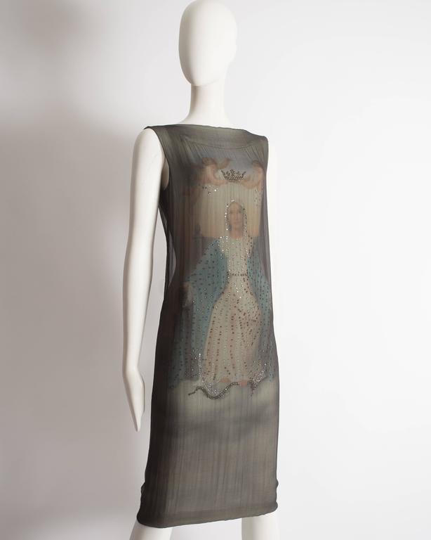 Dolce & Gabbana Virgin Mary chiffon shift dress, circa 1998 For Sale 1