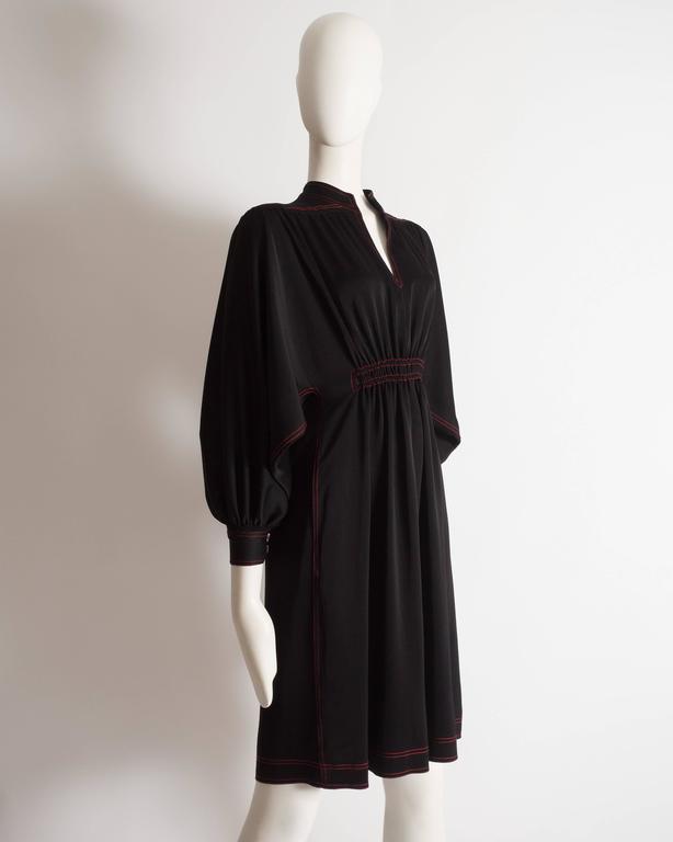 Black Jean Muir black silk evening dress, circa 1972 For Sale