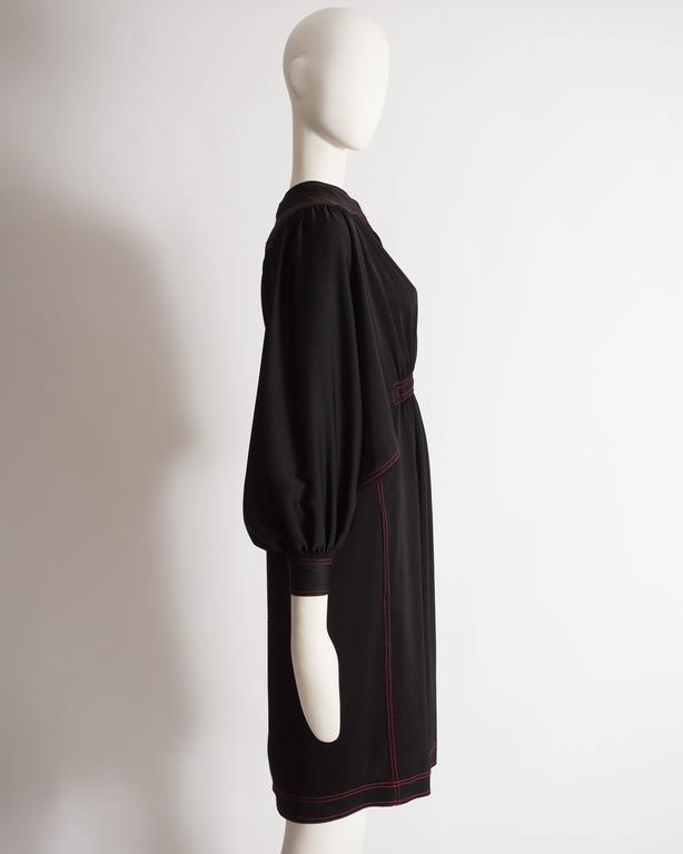 Women's Jean Muir black silk evening dress, circa 1972 For Sale