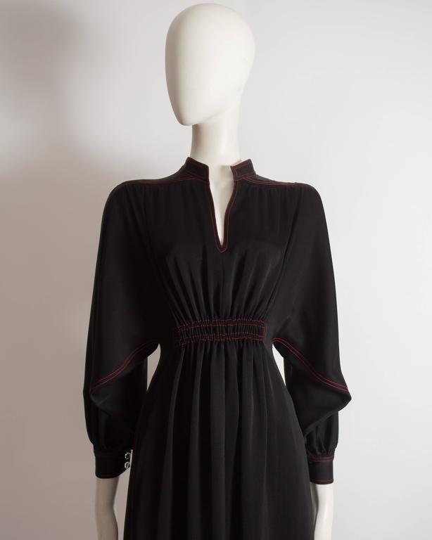 Jean Muir black silk evening dress, circa 1972 For Sale 3