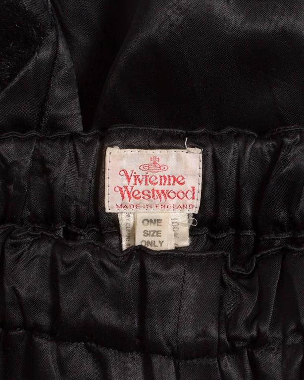 Vivienne Westwood black satin mini shorts with faux fur, circa 1991 7